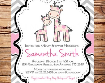 Giraffe Baby shower Invitation, Baby shower invitation girl, Pink, Gray giraffes, baby shower invitation giraffe, 1626
