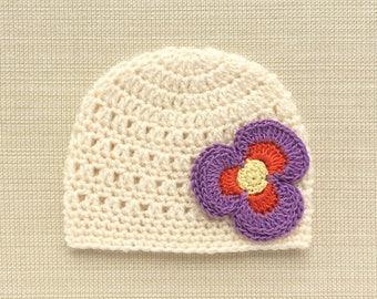 Infant newborn girl hat Crochet baby girl hats Newborn baby hat with flower Newborn girl hospital hat Newborn beanie Infant girl photo prop