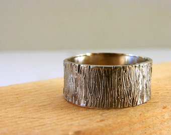 Mens Ring Tree Bark Sterling Silver Ring Gifts for dad