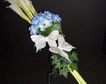 Calla Lily Arm Bouquet with Butterflies, Blue and White Wedding Flowers