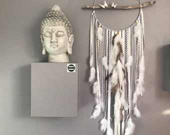 Dream catcher giant 30 cm diameter and total length 100 cm, shades of beige and white