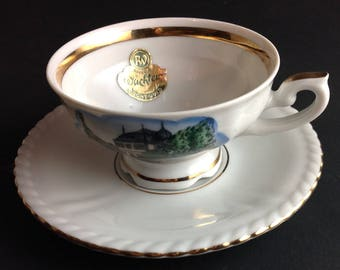RW Bavarian Chine Teacup and Matching Saucer International Travel Jivershelm Ruffled Saucer and Ornate Handle Scene and Gold Trim