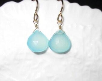 Chalcedony Earrings, Gemstone Earrings, Bridesmaid Earrings, Seafoam Earrings