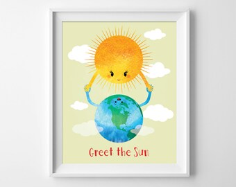 Sun Print. Greet the sun. Typographic illustration. Nursery wall art. Children's Decor. Kids wall Decor. DIGITAL DOWNLOAD by Motif Visuals