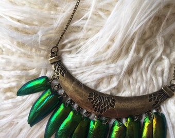 Real beetle wing necklace, boho fringe necklace, statement necklace, beetle wing jewelry, insect jewelry, nature jewelry