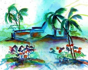 Stormy Caribbean Watercolor Print