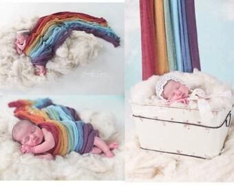 Vintage Rainbow Stretch Knit wraps set of 7 ,  photography newborn prop wrap