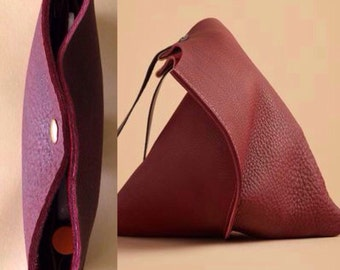16in Leather wedge bag and wallet- matching set - Port red leather