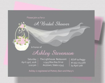 BRIDAL SHOWER INVITATION Pink and Gray Shabby Chic Floral with Wedding Veil   Beautiful Bridal Shower Invitation Rustic Pink Floral Basket