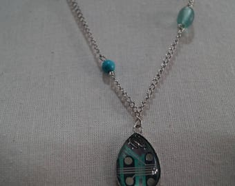 Blue Green circuit board necklace