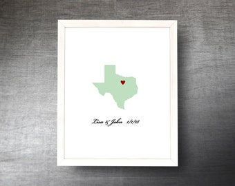 Texas Wedding Guestbook Alternative - Hand Cut Wedding Guest Book - Texas State Shape - Guest Poster - 4 Colors and Sizes