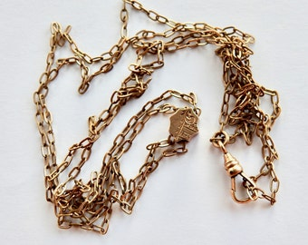 Antique Gold Plated Slide Necklace or Watch Chain