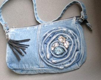 Paris Gypsy Upcycled Blue Jean Bag. Luscious Rhinestones. Deer Hide Tassel. Satin lined. clutch strap. Sister Mother. Weddings