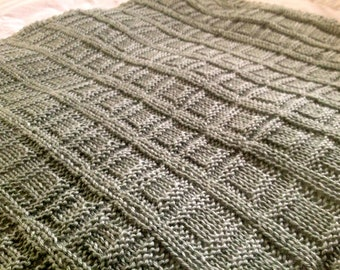 Hand Knit Baby Blanket - Square in a Square pattern with crocheted edge - many colors - made to order