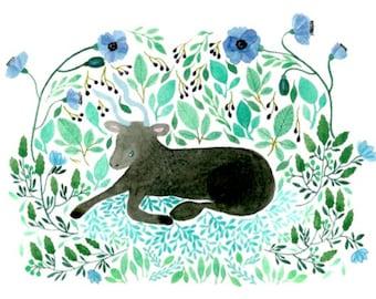Illustration print, Bull illustration, watercolour zodiac sign illustration, animal illustration, Taurus illustration print