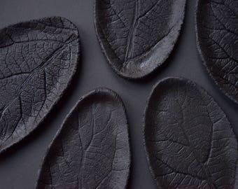 Black Leaf little plate, matte stoneware saucer/small plate/little dish, handmade handcrafted minimal nordic monochrome