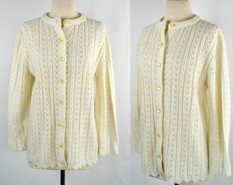 1980s Ivory Braided Knit Cardigan Sweater with Domed Buttons