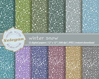 Winter Snow, Digital Paper, Scrapbooking, Paper, 12x12, Printable, Pattern, Snow, Texture, Winter, Snowfall, Background