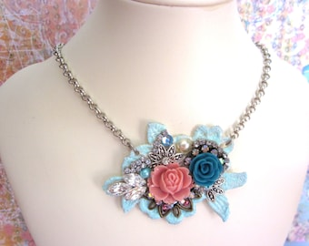 Lace Necklace, Coral & Teal Rose Rhinestone Necklace, Assemblage Necklace, Bib Necklace, Rose Necklace, Rose Jewelry, Bridal Wedding Jewelry