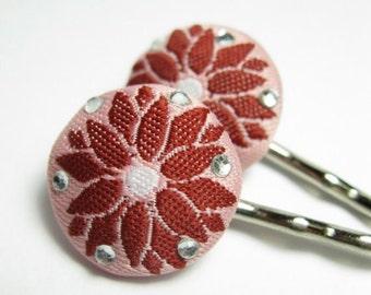 Pink Poinsettia bobby pins