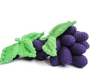 Crochet Grapes Stuffed Kitchen Decoration Amigurumi food Crochet fruits Fake food Crochet food Tactile toy Learning toys Sensory toy