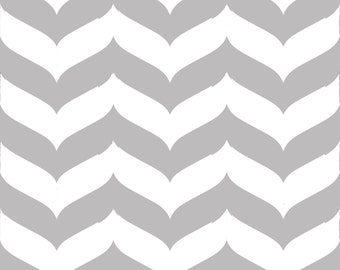 Removable Wallpaper - Wave Chevron Print in Gray and White