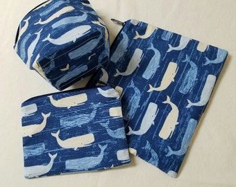 Reusable Sandwich Bags,Snack Bags,Whales,Fish Snack Bags,Small Toy Bags,Washable,Nylon Liner,School Lunch Baggies,Food Baggies.