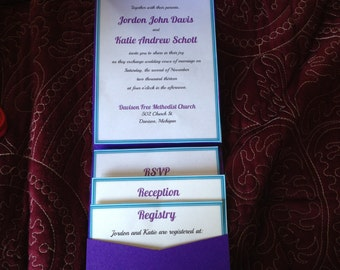 Set of 10 Wedding Pocket Invitations in various colors