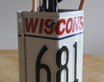 Hand Made Wisconsin WI  License Plate Pencil Holder
