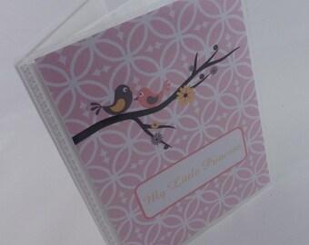 Photo Album Baby Girl Personalized Gift 4x6 photo album 5x7 Blush Pink Bird Picture Book 314