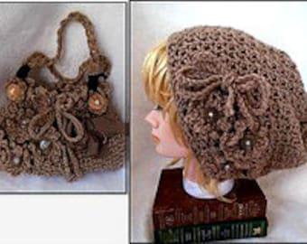 CROCHET PATTERN- hat and purse set - crochet for teens, women, Easy Beginner pattern, # 871