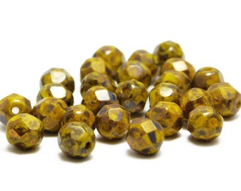 Fire Polished Beads - 6mm Beads - Czech Glass Beads - Picasso Beads - Yellow Beads - Round Beads - 25pcs (5644)