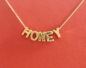18k Gold Vermeil HONEY on a Gold Filled Chain |Customizable With Any Five Letters