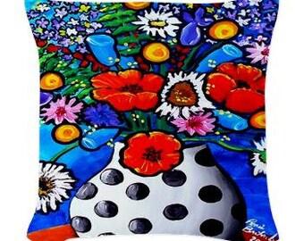 Funky Floral Vase Polka Dots Fun Folk Art Pillow - Woven Throw Pillow Whimsical Art by Renie Britenbucher