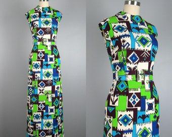 Vintage 1960s 1970s Maxi Dress 60s 70s Funky Southwestern Style Poly Knit Dress with Belt Size L 32 Waist