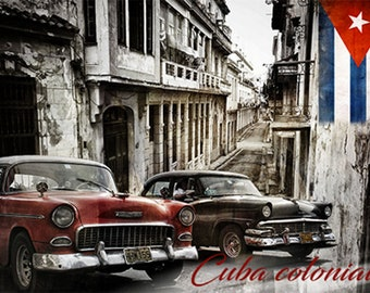 Colorful Wall Art, Digital Art, Printable Poster, Digital Download, Printable Photography, Printable Art,  Photographic Collage, Cuba