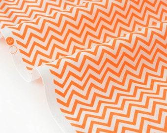 Fabric American chevron zig zag white orange x 50cm