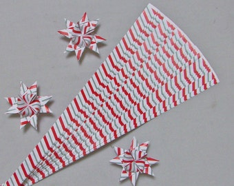 Candy Cane Patterned Paper Strips for Making Moravian German Stars (50 strips), 1/2, 5/8 or 3/4 inch paper strips