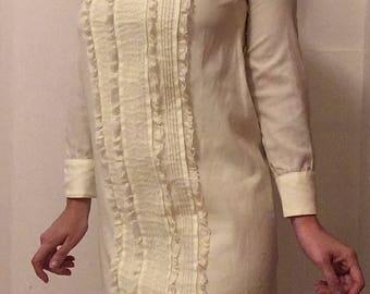 60s Lemon Creme Mod Shift Dress