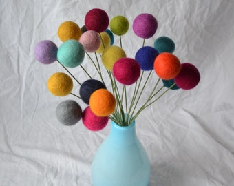 Felt Ball Flower, Wool Flowers, Billy Ball Flowers, Craspedia Flowers, 3cm Felt Flower, Wool Felt Flowers, Felt Flowers, Felt, Bouquet