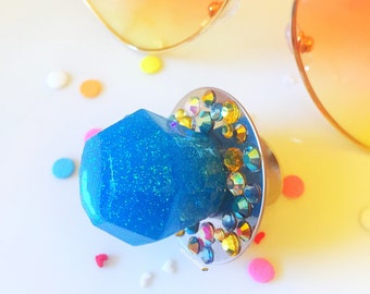 Blue Ring Pop, Candy Ring, Candy Jewelry, Kawaii Jewelry, Kitsch Jewelry, Resin Jewelry, Purposal Ring, Bridal Shower Ring, Crystal Jewelry