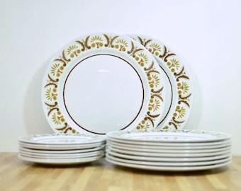 Mid Century Mikasa Rick Rack Dinnerware Set Serving for Eight Bonus Chop Plate Platter Dinner Plates and Bread and Butter Salad Plates