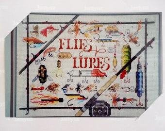 "Janlynn Counted Cross Stitch Kit ""Flies and Lures"", Fishing Fisherman Fisherwoman"