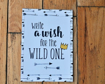 Where the Wild Things Are | Wild One | guest book signing sign| Best Wishes Art