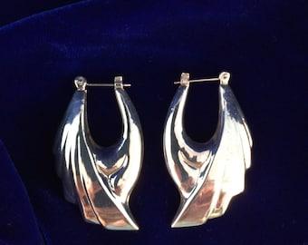 Vintage Silver Winged Hoop Post Earrings