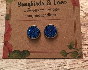 Royal blue druzy on stainless steel stud - 10mm