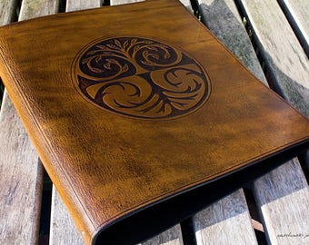 A4 Brown Leather 4 Ring Binder, Tree of Life, Family Tree Binder, Leather Organizer, Leather Planner, Book of Shadows, Free Personalisation.