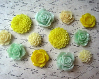 12 pc Magnet Set, Fridge Magnets in Yellow, Mint Green and Cream, Kitchen Decor, Office Decor, Locker Magnet, Hostess Gifts, Wedding Favors