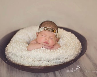 Zooey - Vintage Cream Lace  Headband - Pearl Flower Feather - Baby Infant Newborn Girls Adults - Photo Prop
