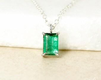 Natural Green Emerald Necklace - Rectangular Cut - Emerald Cut, May Birthstone